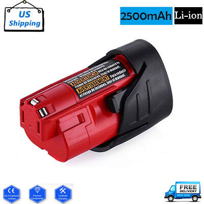 Replacement For Milwaukee M12 48-11-2401 12V 12 Volt 2500mAh Lithium-Ion Battery