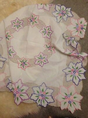 Vintage Hand Embroidered 38x38 Floral Panel Linen Tablecloth