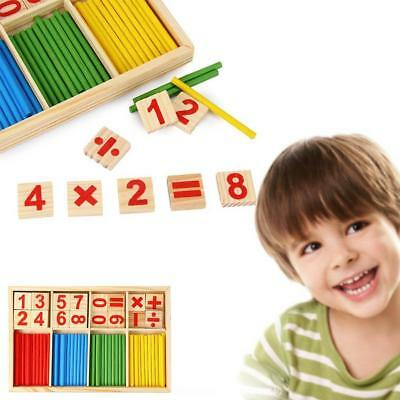 Wooden Math Counting Blocks Sticks Educational Learning Number Abacus Kids Toys