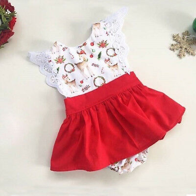 AU Christmas Toddler Baby Girls Deer Lace Romper Bodysuit Dress Outfits Clothes