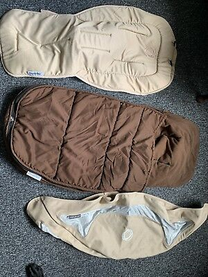 Bugaboo cameleon sand Seat Liner Breezy  Hood And Brown Foot Muff