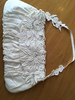Pretty Ivory Justin Alexander Embroidered And Beaded Bag