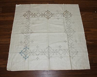 Rare VTG Traced linen Tablecloth to finish embroidery - Cross Stitch