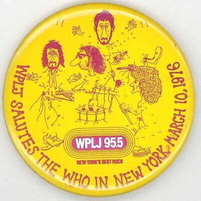 The Who Original 1976 'By Numbers' Tour NYC Concert Stickback Pinback Button Pin
