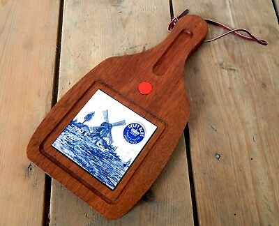 Vintage Wooden Cheeseboard Delft Blue & White Handpainted Tile Holland Unused