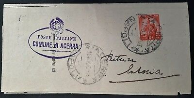 SCARCE 1950 Italy Napoli Taxation Dept Letter ties 10L stamp to Casoria