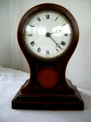 Vintage Inlaid Mahogany Balloon Clock Quartz movement 21 cms High