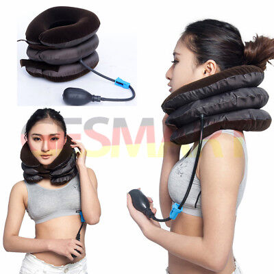 Inflatable Air Pillow Cervical Neck Head Pain Traction Support Brace Device