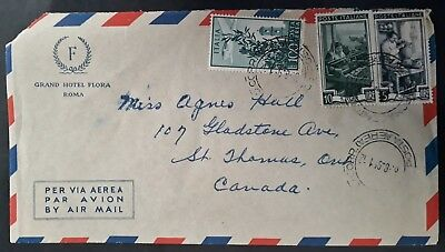 1951 Italy Airmail Grand Hotel Flora Cover ties 3 stamps to Canada
