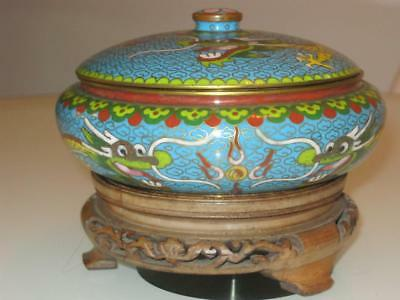 Stunning Chinese Republic 5 Toed Dragon Cloisonne Lidded Bowl With Stand