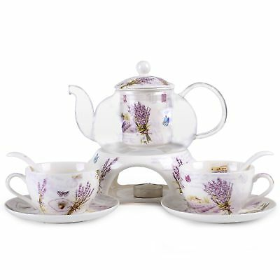 Kendal 24 oz tea maker teapot with a Porcelain warmer and 2 set of Porcelain Cup