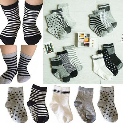 6 Pairs Boy Girl Crew Ankle Socks Lot Casual 0-12 2-3 4-6 6-8 Baby Toddler Kids