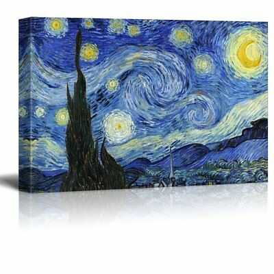 """wall26 - Starry Night by Vincent Van Gogh - Canvas Art Wall Decor - 24"""" x 36"""""""