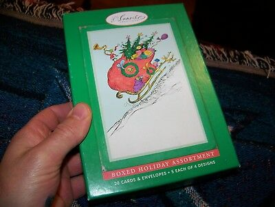 NEW Dr Seuss How The Grinch Stole Christmas 20 Greeting Cards Boxed 4 Designs