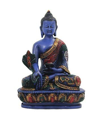 Medicine Buddha Meditating Blue Statue for Peace and Relaxation Resin with Hand