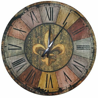"LuLu Decor, Vintage French Country Style Rustic Round Wood Wall Clock 23.50"","