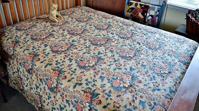 Antique 19th c Chintz Whole Cloth Quilt As Is