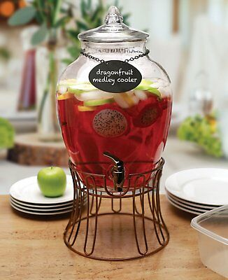 Circleware 69123 Glass Beverage Dispenser with Stand and Chalkboard Necklace,