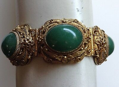 Vintage Chinese Gold Gilded Silver Filigree Green Jade Hinged Bracelet
