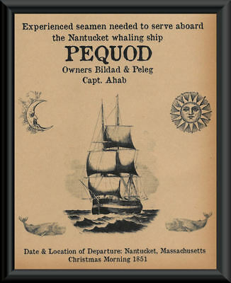 Moby-Dick Pequod Help Wanted Fantasy Flyer On Printed 100 Year Old Paper *164