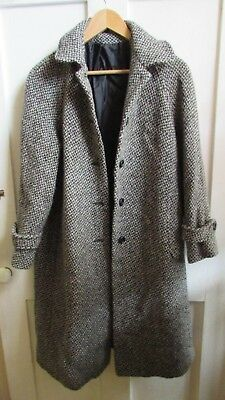 BEAUTIFUL *TRUE 90s VINTAGE* MULTI-COLOUR TWEED BOUCLE STYLE DUSTER COAT SIZE 10