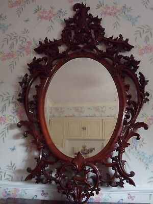 Dark Polished BeautifullyCarved Ornate Oval Mirror. Black Forest ????