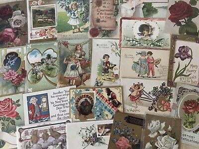 Nice Lot of 25 Vintage Mixed Holiday & Greetings Postcards-in Sleeves-k377