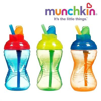 3 Pack Munchkin Mighty Grip Flip Straw Cup, 10 Ounce each (Blue,Green, & Orange)