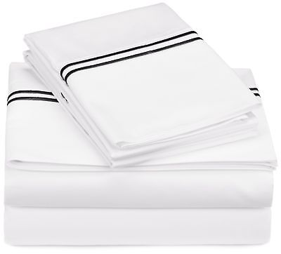Pinzon 400-Thread-Count Egyptian Cotton Sateen Hotel Stitch Sheet Set - Full,