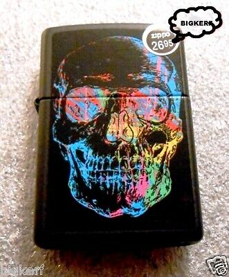 Colorful Electronic  Wired Skull   Zippo  Lighter    Black Matte - New In Box