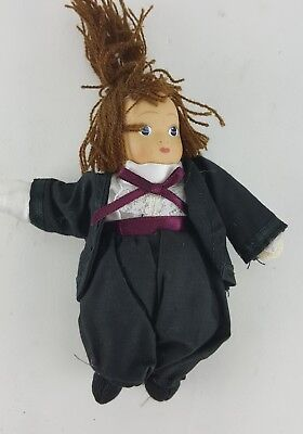 "Amish Girl Doll 6"" Tall Traditional Attire Purple Sash And Bow"