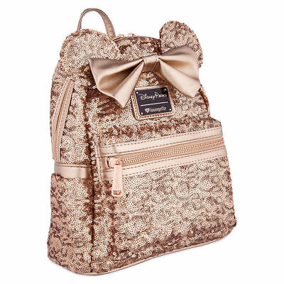 Disney Parks Minnie Mouse Rose Gold Loungefly Backpack New