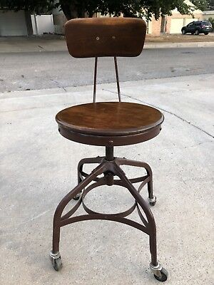 Vintage Industrial Toledo UHL Draftsman Stool Machine Age Chair Factory 1930s