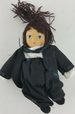 "Amish Girl Doll 6"" Tall Traditional Attire Black Sash And Bow"