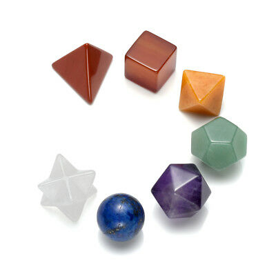 Set 7 Chakra Gemstone Healing Reiki Crystal Platonic Sacred Solid Geometry Decor