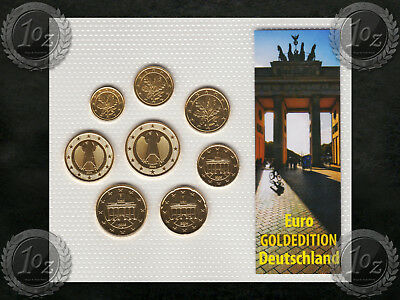 GERMANY complete EURO SET - 8 coins 2004 - 2005 ( 1 cent - 2 Euro ) GILDED * UNC