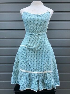 VINTAGE 1950's MID CENTURY Home front Full APRON pin on blue Diamonds Rockabilly