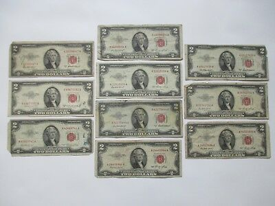 LOT OF (10) $2.00 RED SEAL NOTES - 1953, 1953-A and 1953-B SERIES