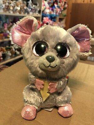 """TY SQUEAKER -GREY Mouse w Cheese 6"""" Beanie Boo!  Retired  RARE ... a08aade6c11f"""