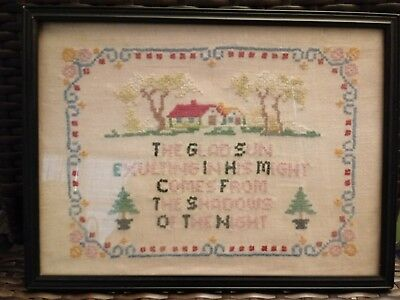 Antique Sampler American Folk Art textile