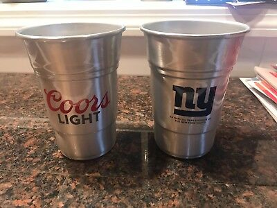 NY Giants Coors Light Aluminum Cups 22 Oz.  Set Of 2 Free Shipping