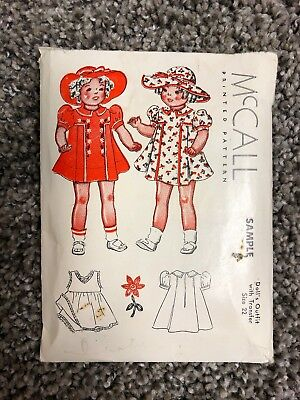 "Vintage 1937 McCall Sample Sewing Pattern For 22"" Doll Outfit"
