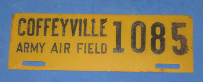 WWII U.S. Army Air Corps COFFEYVILLE Kansas ARMY AIR FIELD License Plate #1085