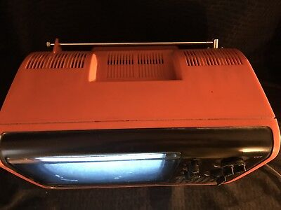 *RARE* Vintage Orange Panasonic TR-7290 Tube Television Portable Space Age Retro