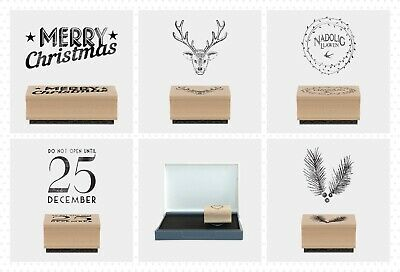 East of India Christmas Tree Small Rubber Stamps Merry Xmas Craft Nadolig Llawen
