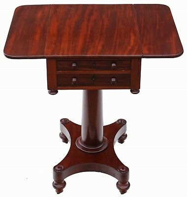 Antique quality 19th Century mahogany two drawer drop leaf work table