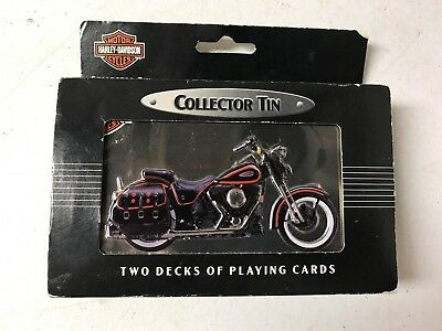2 Decks of 1998 Harley Davidson Playing Cards In Storage Tin