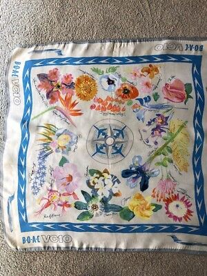 BOAC VC10 silk scarf with design pattern of flowers from around the world