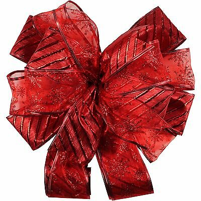 Holiday Time Christmas Decor Red Horizontal Stripe 12 Tree Topper Bow NEW