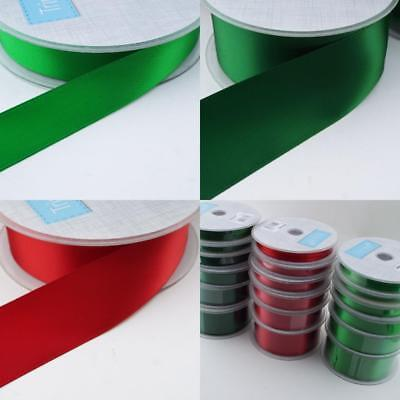 GREAT QUALITY 3 6 10 15 25 36mm Satin Ribbon Christmas 20m Reels Red Green